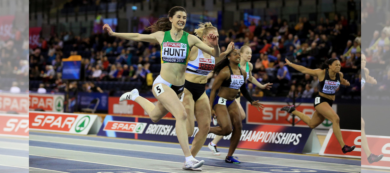 Record-holder Amy Hunt takes 60m gold in the British indoor championships