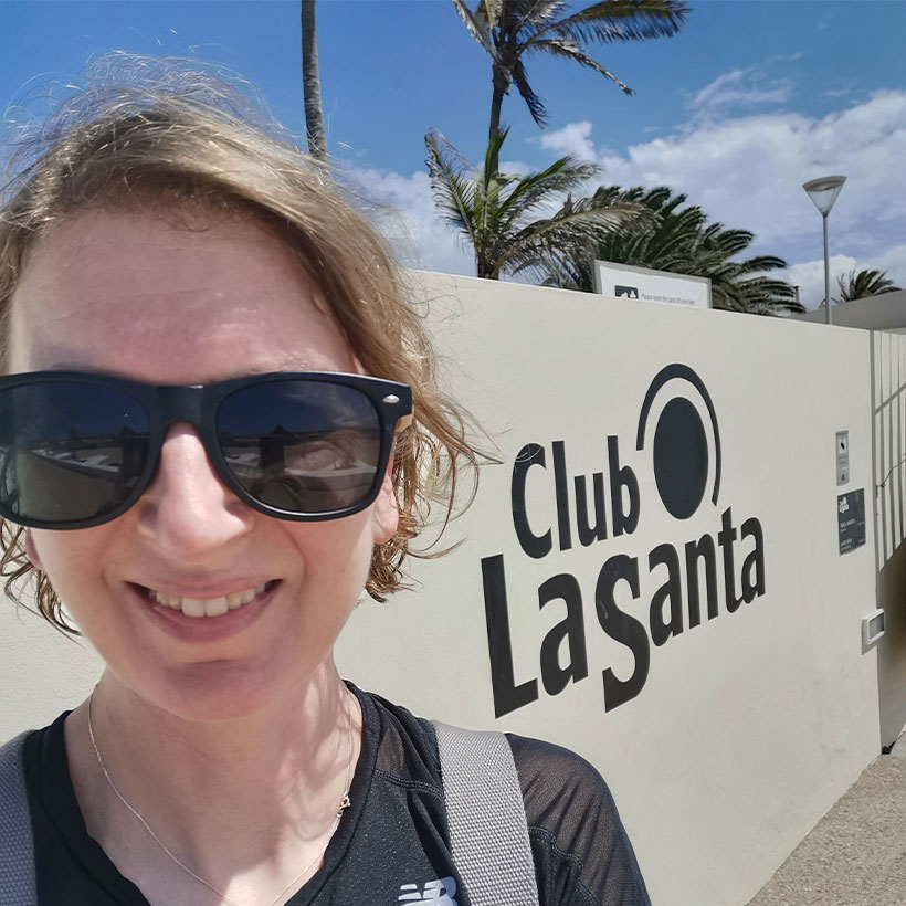 Esther at the Club La Santa entrance